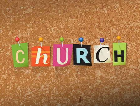 catholic mass: The word CHURCH written in cut letters and pinned to a cork bulletin board illustration. Vector
