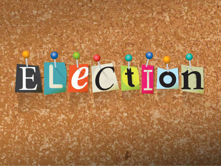 bulletin board: The word ELECTION written in cut letters and pinned to a cork bulletin board illustration. Vector
