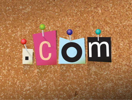The word DOT COM written in cut letters and pinned to a cork bulletin board illustration. Vector Illustration