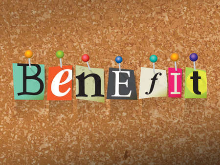 The word BENEFIT written in cut letters and pinned to a cork bulletin board illustration. Vector