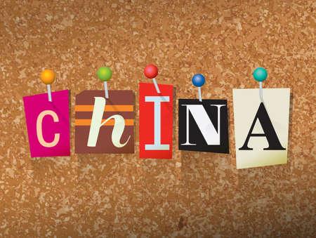 """단어 """"중국""""잘라낸 편지 작성 및 코르크 게시판 그림에 고정 된. 벡터"""