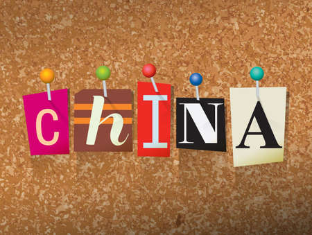 The word CHINA written in cut letters and pinned to a cork bulletin board illustration. Vector