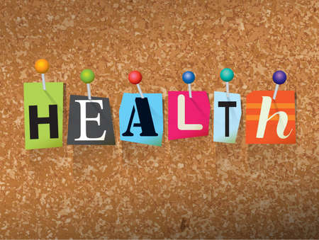 The word HEALTH written in cut letters and pinned to a cork bulletin board illustration. Vector Illustration