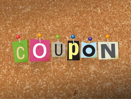 The word COUPON written in cut letters and pinned to a cork bulletin board illustration. Vector