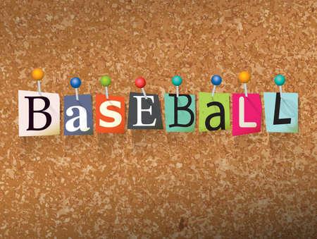 """단어 """"야구는 '컷 편지 작성 및 코르크 게시판 그림을 고정합니다. 벡터 일러스트"""
