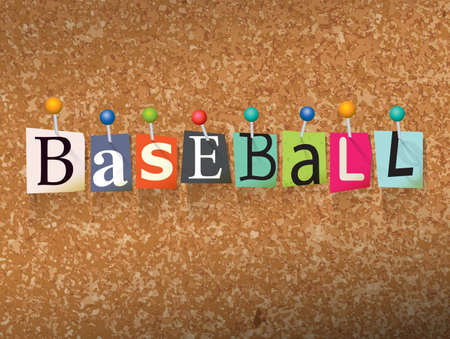 bulletin board: The word BASEBALL written in cut letters and pinned to a cork bulletin board illustration. Vector