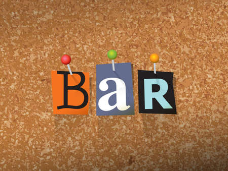The word BAR written in cut letters and pinned to a cork bulletin board illustration. 向量圖像