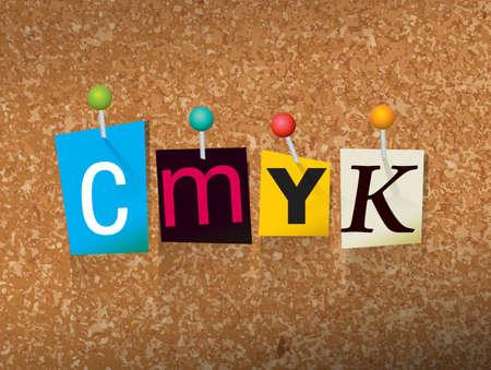 """단어 """"CMYK""""잘라 편지 작성 및 코르크 게시판 그림 고정."""