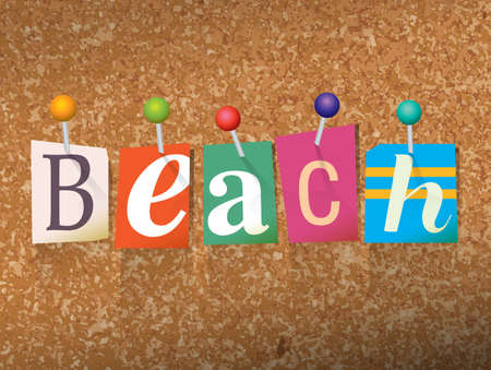 The word BEACH written in cut letters and pinned to a cork bulletin board illustration.