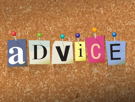 The word ADVICE written in cut letters and pinned to a cork bulletin board illustration.