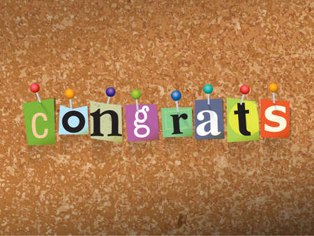 The word CONGRATS written in cut letters and pinned to a cork bulletin board illustration. Illustration