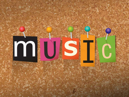 """letras musicales: La palabra """"MUSIC"""" escrito en letras de corte y clavado en una ilustración en el tablón de corcho."""