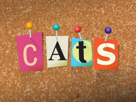 bulletin: The word CATS written in cut letters and pinned to a cork bulletin board illustration. Illustration