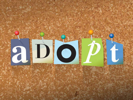 orphan: The word ADOPT written in cut letters and pinned to a cork bulletin board illustration.