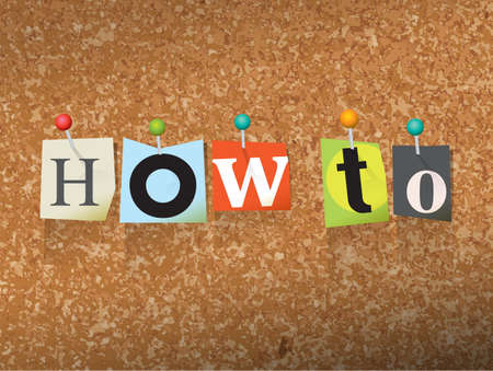 The words HOW TO written in cut letters and pinned to a cork bulletin board illustration. 向量圖像