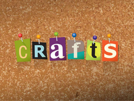 bulletin board: The word CRAFTS written in cut letters and pinned to a cork bulletin board illustration Illustration