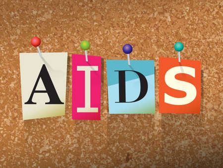 The word AIDS written in cut letters and pinned to a cork bulletin board illustration. Illustration