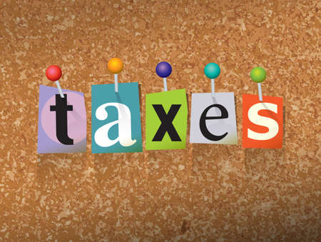The word TAXES written in cut letters and pinned to a cork bulletin board illustration.