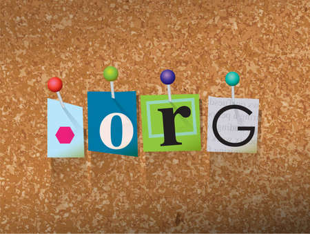 The word DOT ORG written in cut letters and pinned to a cork bulletin board illustration.