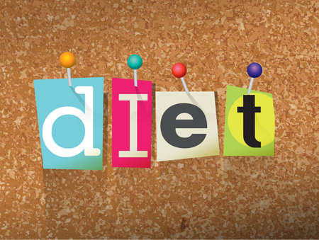 The word DIET written in cut letters and pinned to a cork bulletin board illustration.