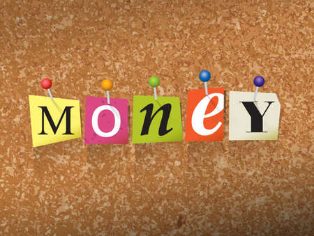The word MONEY written in cut letters and pinned to a cork bulletin board illustration. Illustration