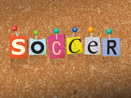 The word SOCCER written in cut letters and pinned to a cork bulletin board illustration.