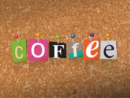 The word COFFEE written in cut letters and pinned to a cork bulletin board illustration. Illustration