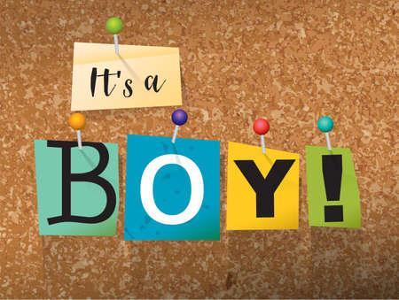 """단어 """"It 's 소년""""잘라 편지 작성 및 코르크 게시판 그림에 고정 된."""