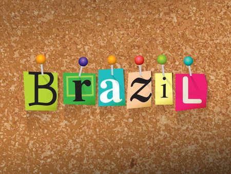 """단어 """"브라질""""잘라 편지 작성 및 코르크 게시판 그림에 고정 된. 일러스트"""