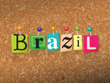 The word BRAZIL written in cut letters and pinned to a cork bulletin board illustration. Illustration