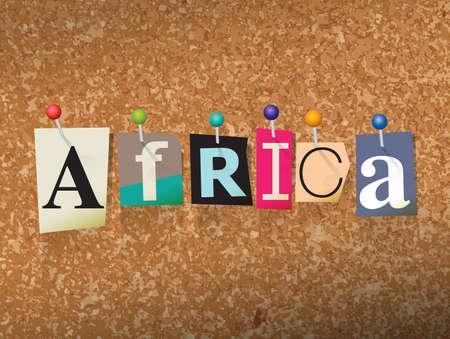 """잘라낸 편지 작성 및 코르크 게시판 그림 고정 된 """"아프리카""""단어."""
