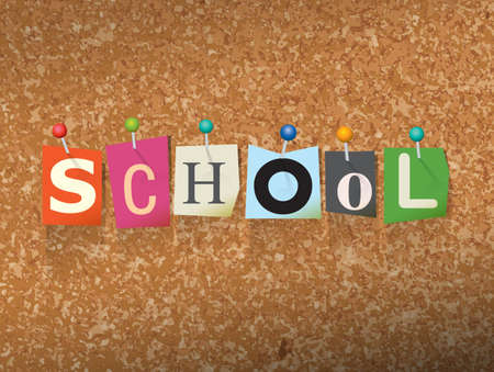 bulletin: The word SCHOOL written in cut letters and pinned to a cork bulletin board illustration.