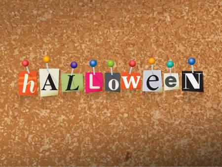 The word HALLOWEEN written in cut letters and pinned to a cork bulletin board illustration. Illustration