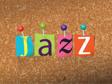 The word JAZZ written in cut letters and pinned to a cork bulletin board illustration.