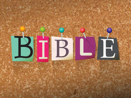 The word BIBLE written in cut letters and pinned to a cork bulletin board illustration. Ilustração