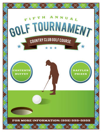 A template for a golf tournament scramble invitation flyer. Vector EPS 10 available. 向量圖像