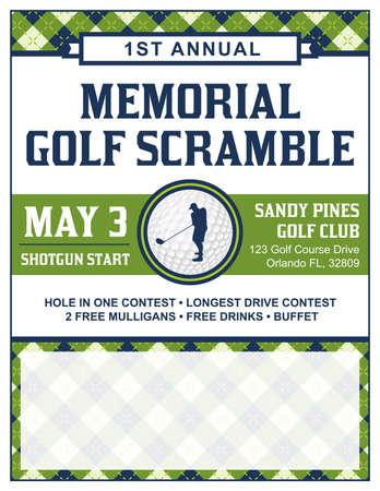 ゴルフ トーナメントのスクランブル招待チラシのテンプレートです。  イラスト・ベクター素材