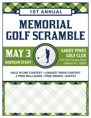 A template for a golf tournament scramble invitation flyer. Reklamní fotografie - 56861232
