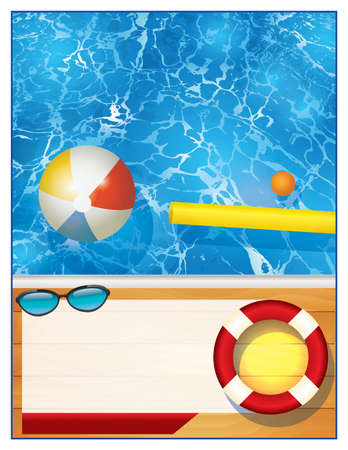 pool balls: A blank swimming pool background with room for copy for a party invitation or special event. Vector EPS 10 available. Illustration
