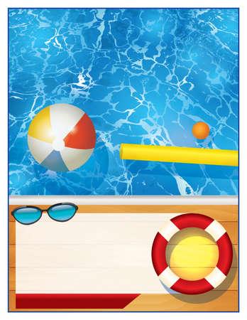 Een lege zwembad achtergrond met ruimte voor kopiëren voor een uitnodiging van partij of speciale gebeurtenis. Vector EPS-10 beschikbaar.