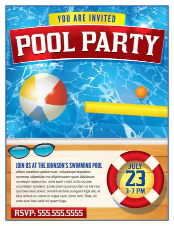 プール パーティーの招待状のテンプレートです。ベクター EPS 10 利用できます。