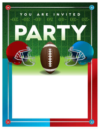 superbowl: An American football party invitation flyer template design with room for copy. Vector EPS 10 available.