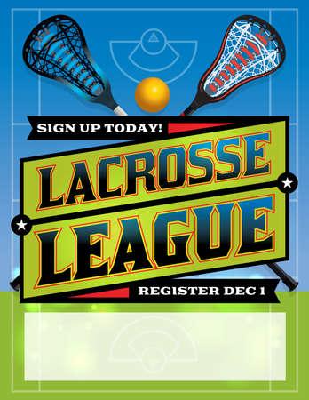 league: An illustration for a lacrosse league template Illustration