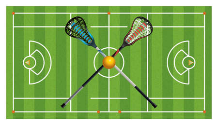 birds eye view: An aerial view of a realistic lacrosse field with crossed sticks and ball.