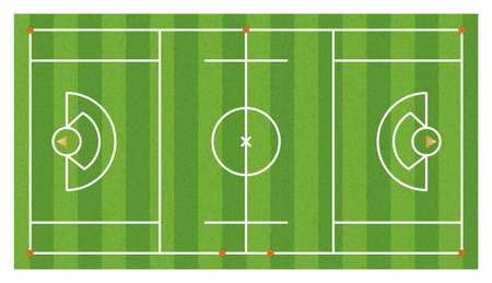 An aerial view of a lacrosse field with lines and goals. Illustration