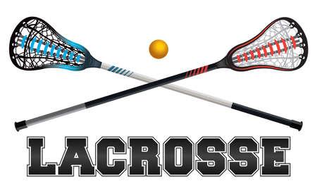 La palabra de lacrosse con los palillos cruzados y bola. Vectoriales EPS 10 disponible.