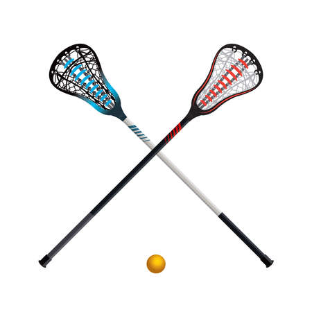 A set of crossed lacrosse sticks and yellow ball isolated on white illustration. Vector EPS 10 available.