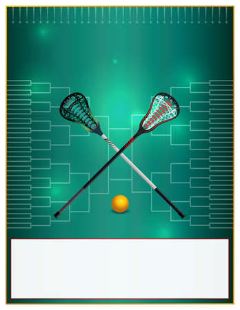 tournament bracket: A lacrosse template with lacrosse sticks and ball over a bracket. Room for copy. Vector EPS 10 available.