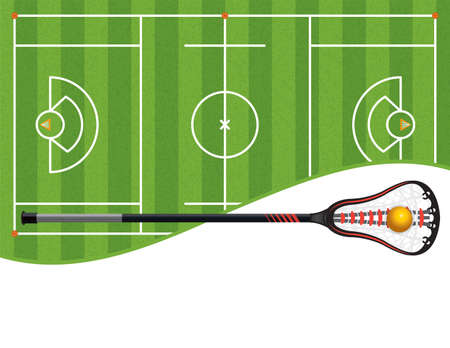 A lacrosse field with a lacrosse stick and ball and room for copy. Vector EPS 10 available.