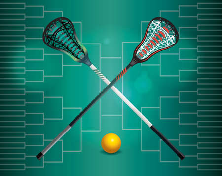 tournament bracket: A lacrosse tournament illustration with lacrosse sticks, ball, and bracket. Vector EPS 10 available.